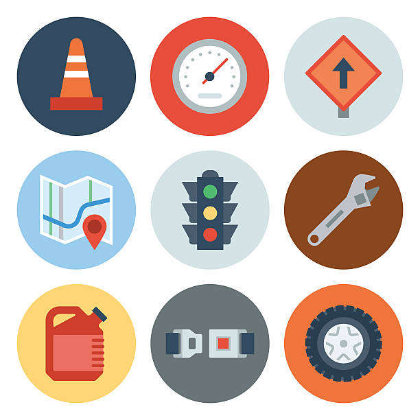 Automotive Icons 2 — Circle Series vector art illustration