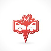Automotive Insurance Pointer Icon. Simple icon with slight gradient. Simple silhouette style symbol.