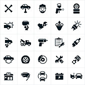 An icons set representing the automotive repair industry. The icons include cars, vehicles, tools, mechanic, spray gun, tires, wrecked car, fixing, brakes, repair, auto body shop, battery, spark plug and tow truck to name a few.