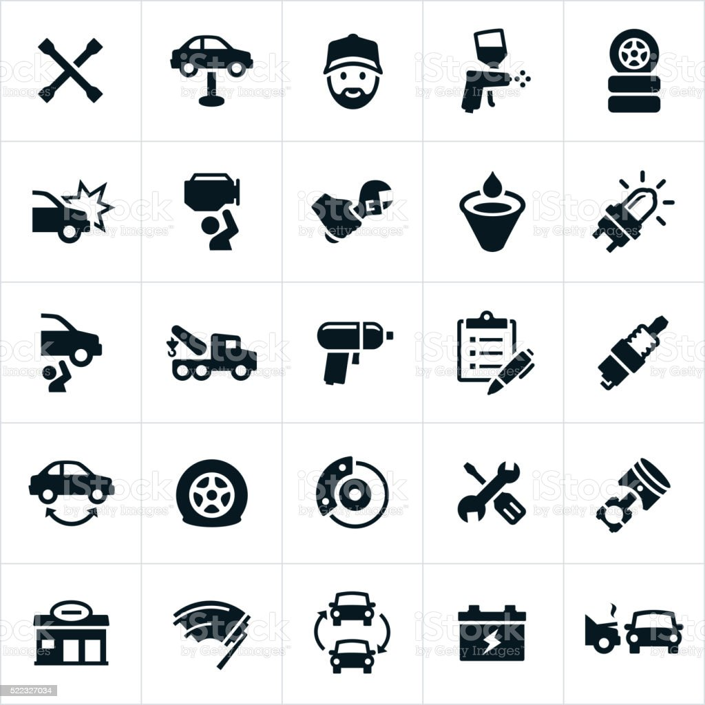 Automotive Repair Icons vector art illustration