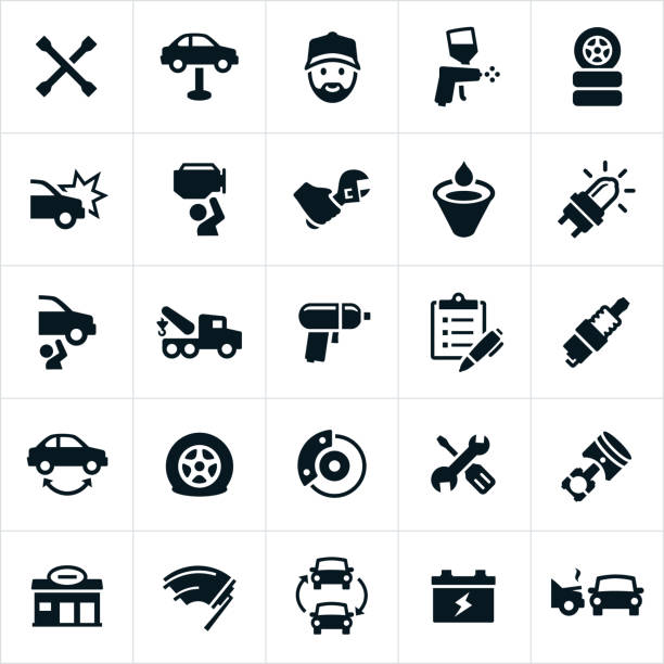 automotive repair icons - mechanic stock illustrations, clip art, cartoons, & icons
