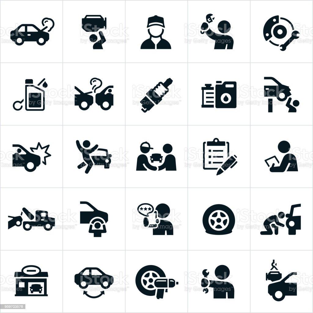Automotive Repair Icons vector art illustration