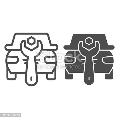 istock Automotive repair line and solid icon. Vehicle and auto service with wrench symbol, outline style pictogram on white background. Car accident sign for mobile concept and web design. Vector graphics. 1214979255