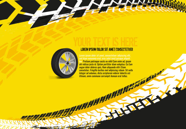 Automotive Tire Background 33 Vector automotive banner template. Grunge tire tracks backgrounds for landscape poster, digital banner, flyer, booklet, brochure and web design. Editable graphic image in red and white colors auto racing stock illustrations