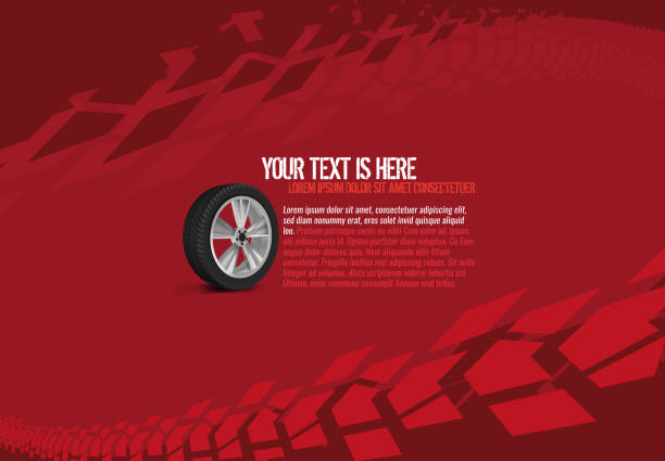 Automotive Tire Background Vector automotive banner template. Grunge tire tracks backgrounds for landscape poster, digital banner, flyer, booklet, brochure and web design. Editable graphic image in red and white colors tire vehicle part stock illustrations