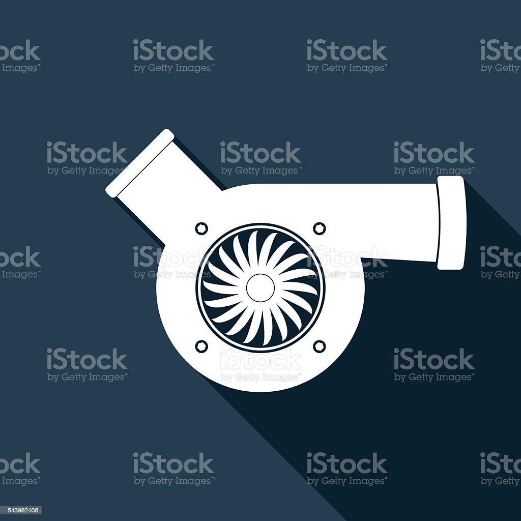 Automotive turbocharger icon with long shadow. – Vektorgrafik