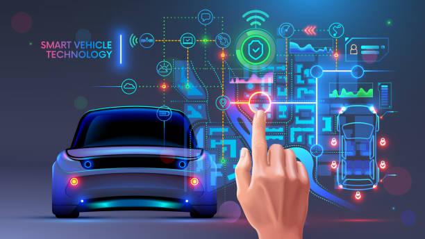 automotive vehicles system. Diagnostic interface of autonomous car. IOT. vector art illustration