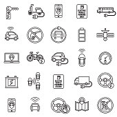 Autonomous and Electric Vehicles Icon Set