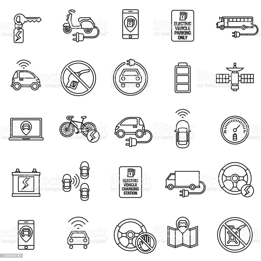 Autonomous and Electric Vehicles Icon Set vector art illustration