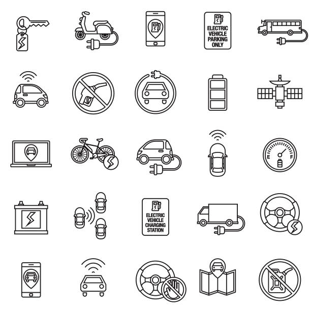 Autonomous and Electric Vehicles Icon Set A flat design/thin line icon on a colored background. Color swatches are global so it's easy to edit and change the colors. File is built in CMYK for optimal printing and the background is on a separate layer. alternative fuel vehicle stock illustrations