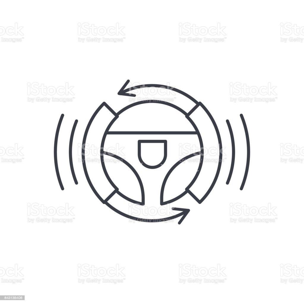 autonomous auto, autopilot, gyropilot, automatic pilot, smart car steering wheel thin line icon. Linear vector symbol vector art illustration