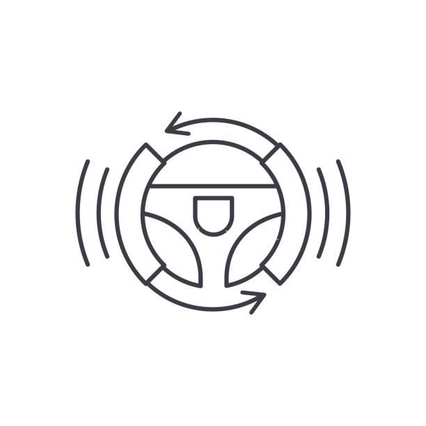 autonomes auto, autopilot, gyropilot, autopilot, smart auto lenkrad dünne liniensymbol. linearer vektor-symbol - selbstfahrende autos stock-grafiken, -clipart, -cartoons und -symbole