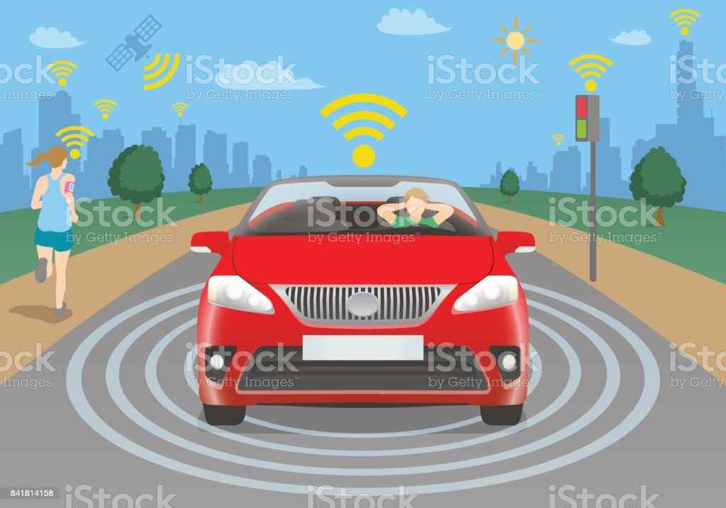 autonomous car concept, vehicle to pedestrian(V2P), vehicle to infrastructure(V2I) vector art illustration