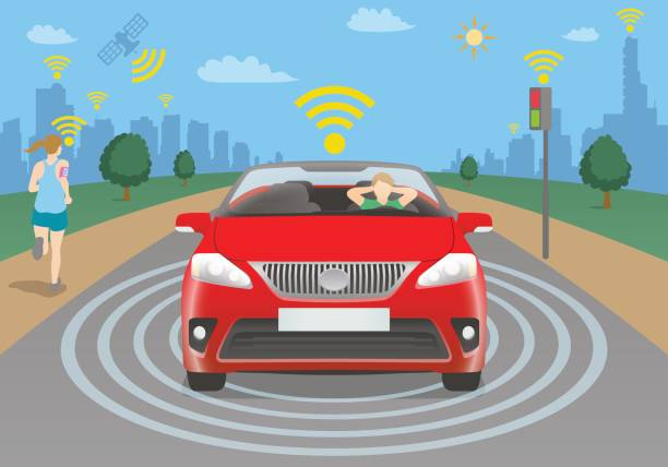 autonomous car concept, vehicle to pedestrian(v2p), vehicle to infrastructure(v2i) - self driving cars stock illustrations, clip art, cartoons, & icons