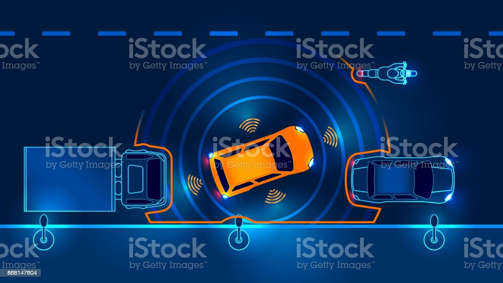 Autonomous car. Draiverless vehicle vector art illustration