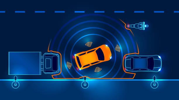 autonomous car. draiverless vehicle - self driving cars stock illustrations, clip art, cartoons, & icons