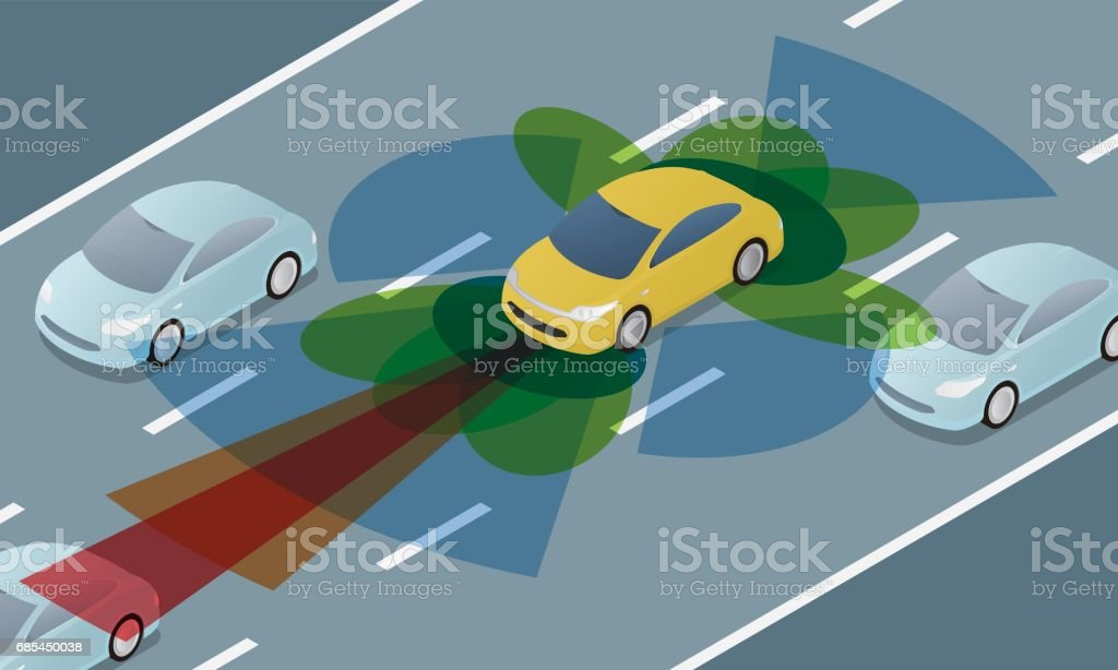 autonomous car driving on road and sensing systems, driverless car, self-driving vehicle vector art illustration