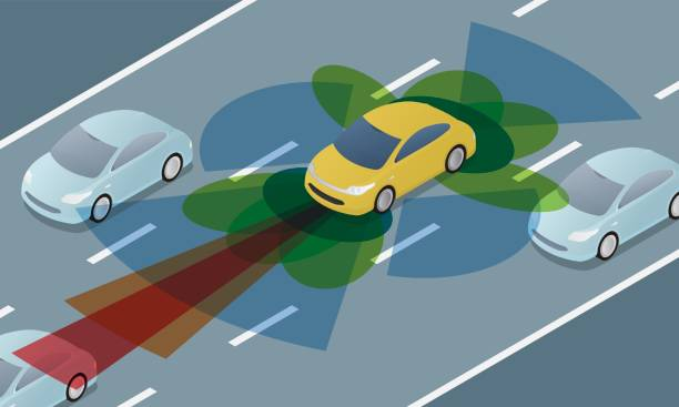 autonomous car driving on road and sensing systems, driverless car, self-driving vehicle - self driving cars stock illustrations, clip art, cartoons, & icons