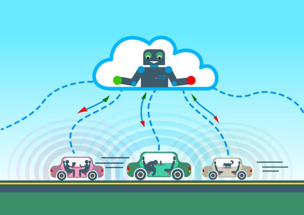 autonomes auto straßenfahrt und sensing systeme - sensorischer impuls stock-grafiken, -clipart, -cartoons und -symbole