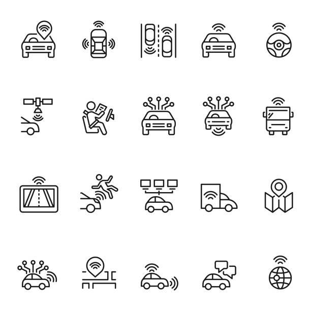 bildbanksillustrationer, clip art samt tecknat material och ikoner med autonoma bil ikonuppsättning - kör