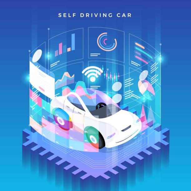 autonome autos selbstfahrer technologie - selbstfahrende autos stock-grafiken, -clipart, -cartoons und -symbole
