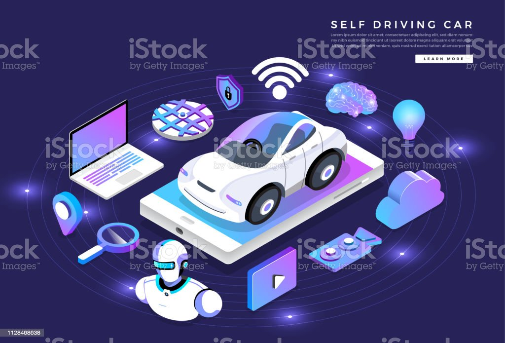 Autonomous Car Self Driving Technology Stock Illustration
