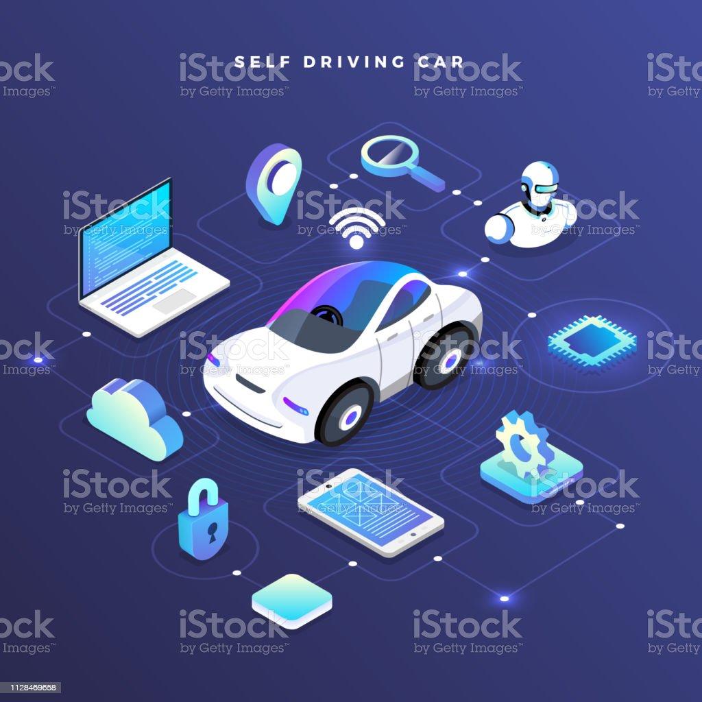 Autonomous Car Self Driving Technology Stock Illustration