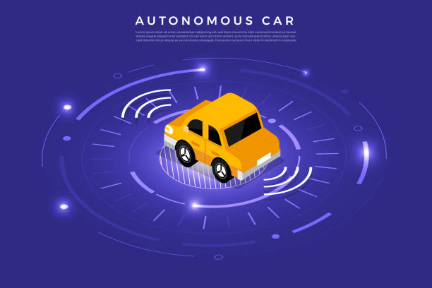 özerk araba kendini teknoloji sürüş - google stock illustrations