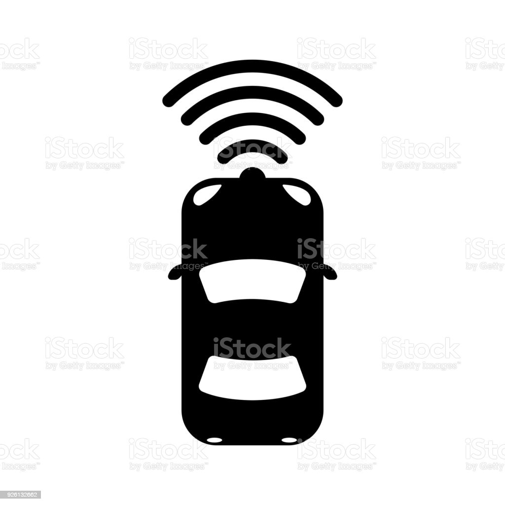 autonomous car / self-driving car icon vector art illustration
