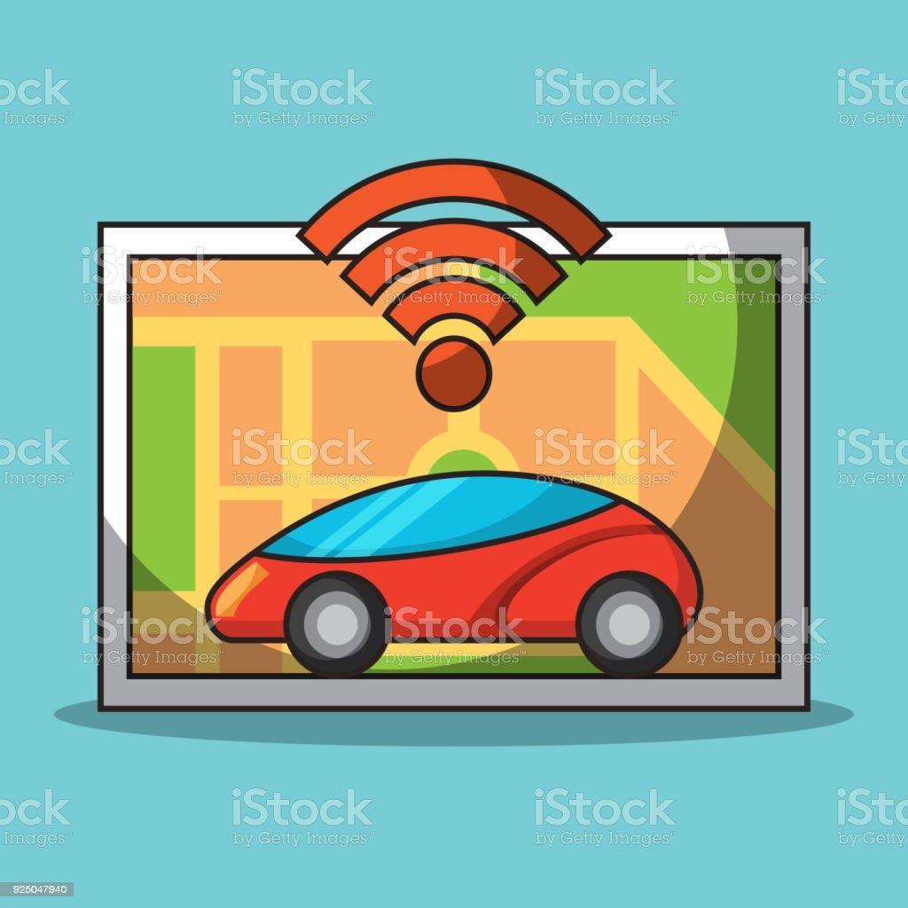 Autonomous Car Sensor Map Navigation Smart Technology Stock