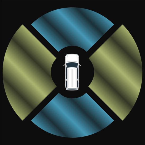 autonome autos draufsicht. selbstfahrer fahrzeug. - infrarotfotografie stock-grafiken, -clipart, -cartoons und -symbole