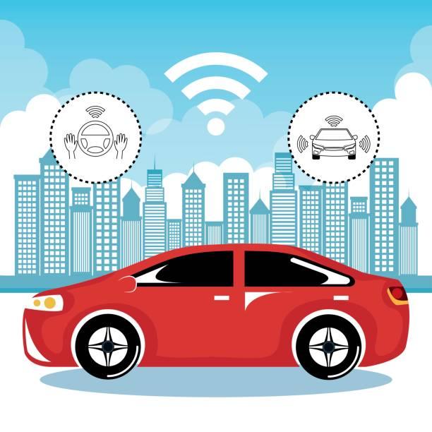 自律車と無線通信システム都市背景ベクトル イラスト - 自動運転車点のイラスト素材/クリップアート素材/マンガ素材/アイコン素材