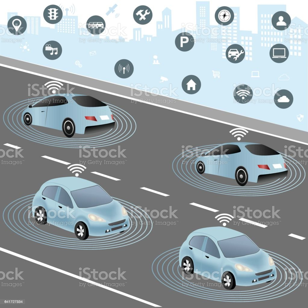 Autonomous cars and Wireless network of vehicle vector art illustration