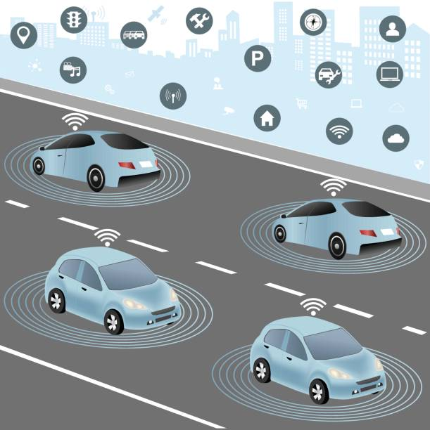 autonomous cars and wireless network of vehicle - self driving cars stock illustrations, clip art, cartoons, & icons