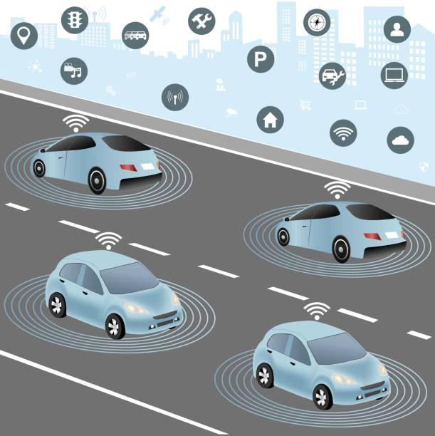 自律車や車両の無線ネットワーク - 自動運転車点のイラスト素材/クリップアート素材/マンガ素材/アイコン素材
