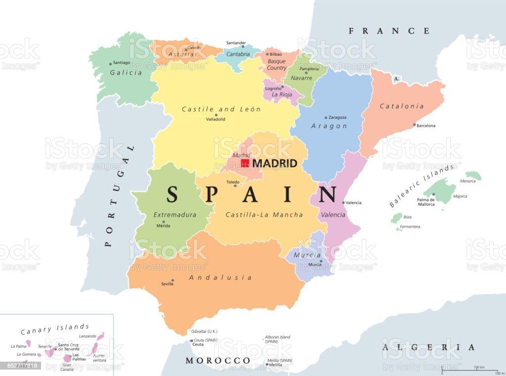 Andalusien Karte Spanien.Autonome Gemeinschaften Von Spanien Politische Karte Stock Vektor