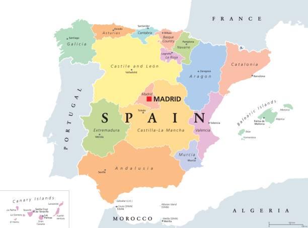 autonome gemeinschaften von spanien politische karte - spanien stock-grafiken, -clipart, -cartoons und -symbole
