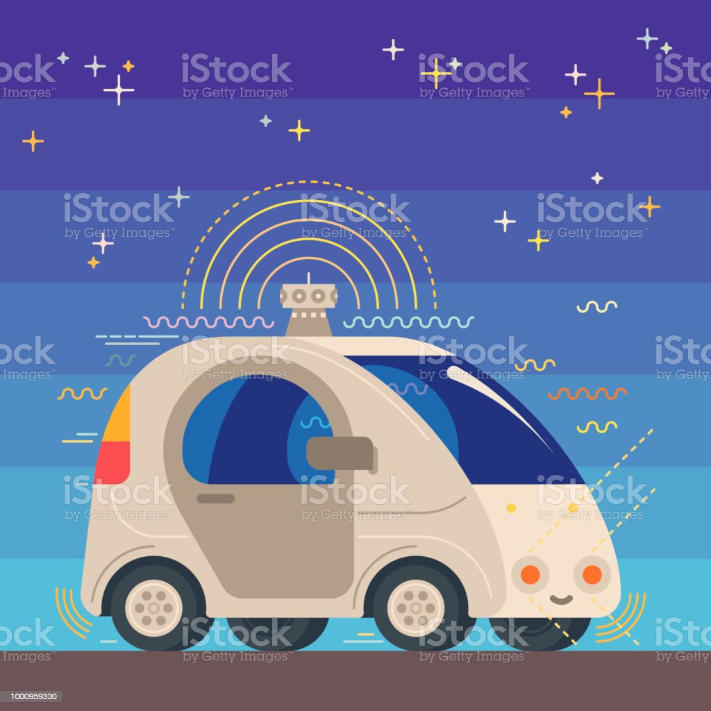 Illustration de la voiture de robotique autonome sans conducteur - Illustration vectorielle