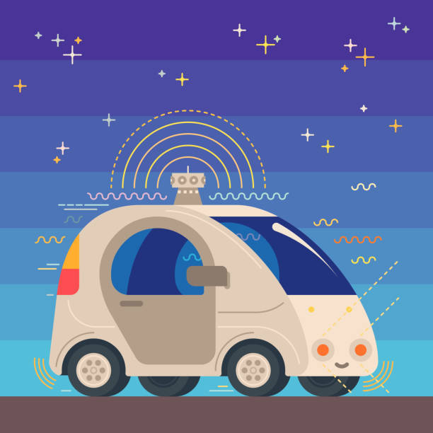 autonomous driverless robotic car illustration - self driving cars stock illustrations, clip art, cartoons, & icons