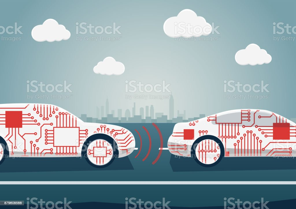 Autonomous driving concept as example for digitalisation of automotive industry. Vector illustration of connected cars communicating with each other vector art illustration