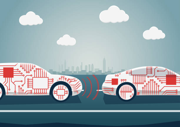 autonomous driving concept as example for digitalisation of automotive industry. vector illustration of connected cars communicating with each other - self driving cars stock illustrations, clip art, cartoons, & icons