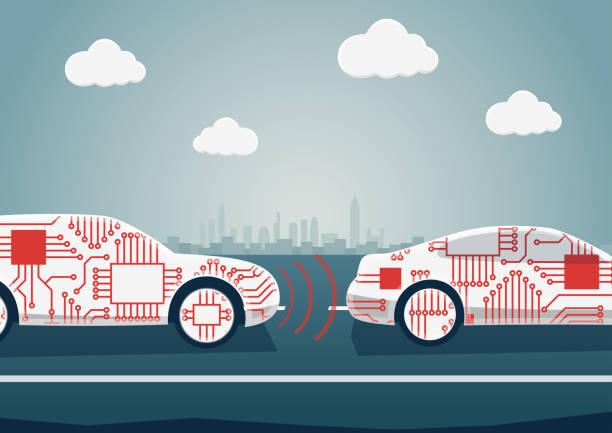 自律運転の自動車産業のデジタル化のための例として概念。お互いに通信接続車のベクトル イラスト - 自動運転車点のイラスト素材/クリップアート素材/マンガ素材/アイコン素材