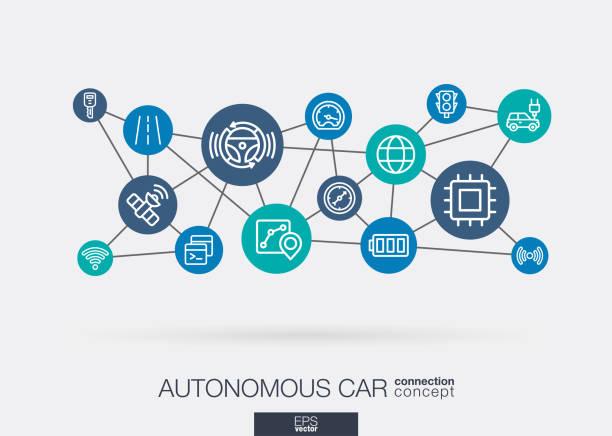 autonome elektroauto, selbstfahrende, autopilot, die integrierte business-vektor-icons. digitale smart mesh-idee. futuristic interagieren neuronales netz netz verbinden. - selbstfahrende autos stock-grafiken, -clipart, -cartoons und -symbole