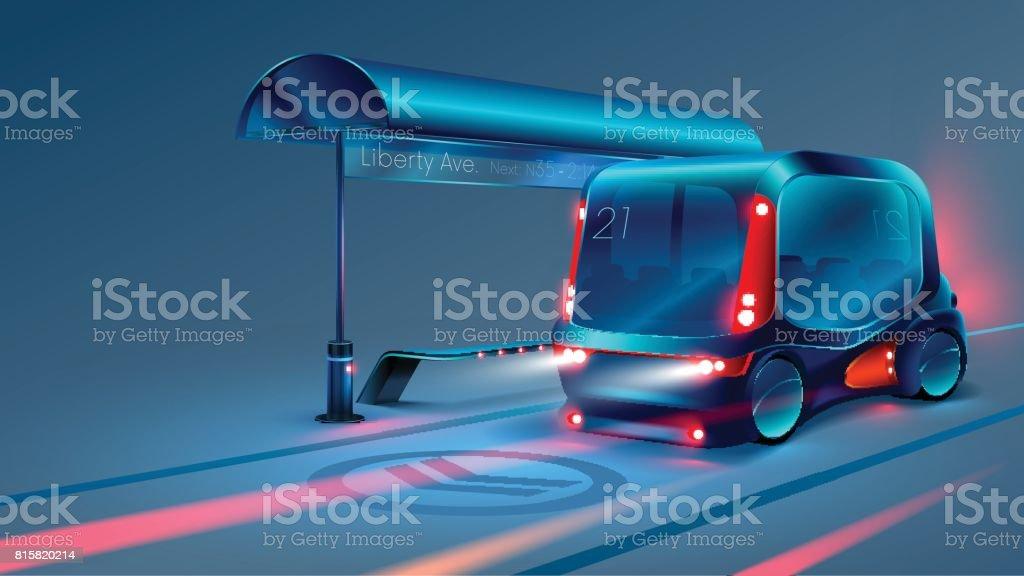 Autonomous electric smart bus or minibus stops at city bus stop. VECTOR vector art illustration
