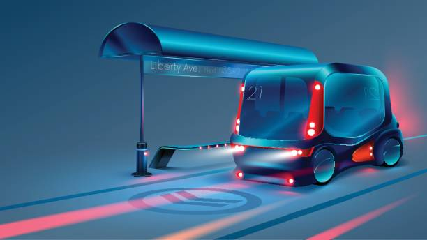 autonome intelligente elektrobus oder minibus hält an stadtbus-haltestelle. vektor - selbstfahrende autos stock-grafiken, -clipart, -cartoons und -symbole