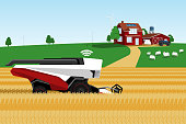 Autonomous harvester working on the field. Smart farming