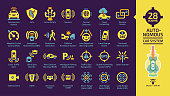 Autonomous self drive car sensor control system yellow glyph icon set on a dark violet background with driverless vehicle advanced assistance remote technology with cameras and radars.