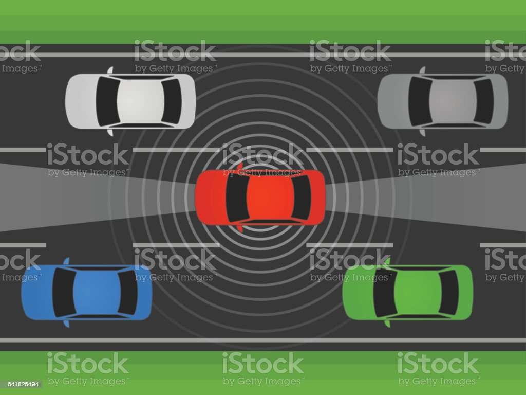 Autonomous self driving car, vehicle or automobile with lidar and radar flat vector illustration vector art illustration