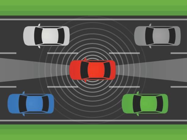 自律自己車、車両やライダーとレーダーのフラットのベクトル図と自動車運転 - 自動運転車点のイラスト素材/クリップアート素材/マンガ素材/アイコン素材