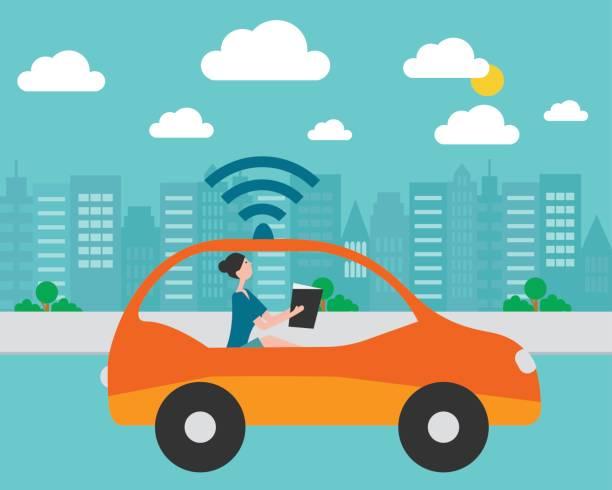 autonomous, self driving, driverless car illustration - self driving cars stock illustrations, clip art, cartoons, & icons